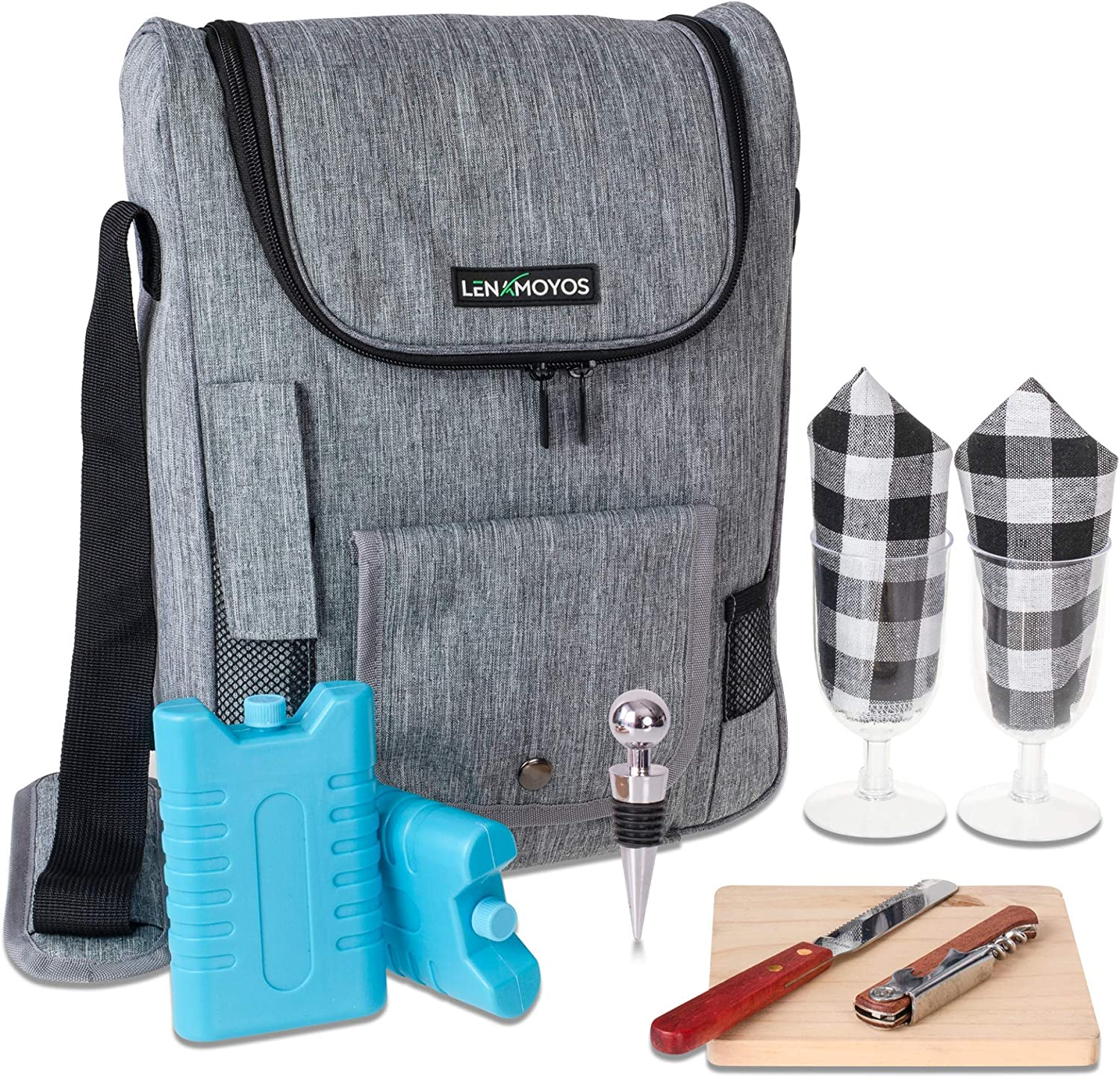 Travel Wine Cooler Tote Bag - Insulated Portable 2 Wine Carrying Bag - Cheese Waterproof Canvas Carrier Bag Set with Kit - Shoulder Strap Great for Picnics and Outdoor Entertaining (Grey)