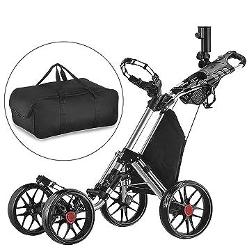 CaddyTek Carrito plegable con 4 ruedas (versión 3, con bolsa de almacenamiento), color gris oscuro