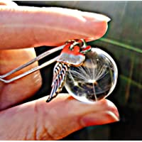 Rose Gold Heart Angel Wing Sterling Silver Chain Dandelion Necklace - Glass Dandelion Pendant Guardian Angel unique jewellery for women sympathy gift