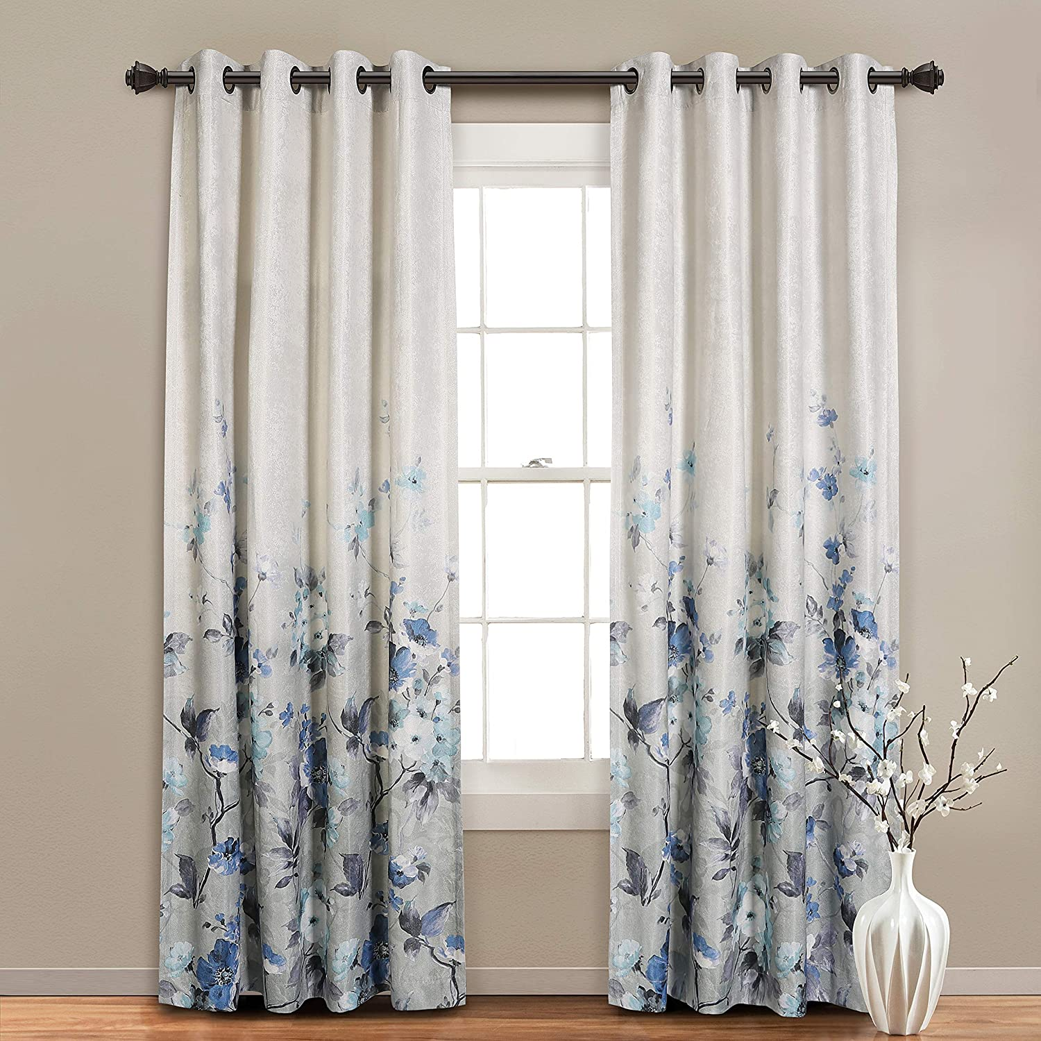 MYSKY HOME Floral Design Print Grommet top Thermal Insulated Faux Linen Room Darkening Curtains, 52 x 84 Inch, Purple, 1 Panel