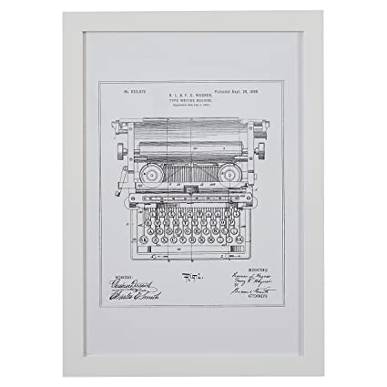 Amazon.com: Silver on White Blueprint of 1899 Typewriter, White ...