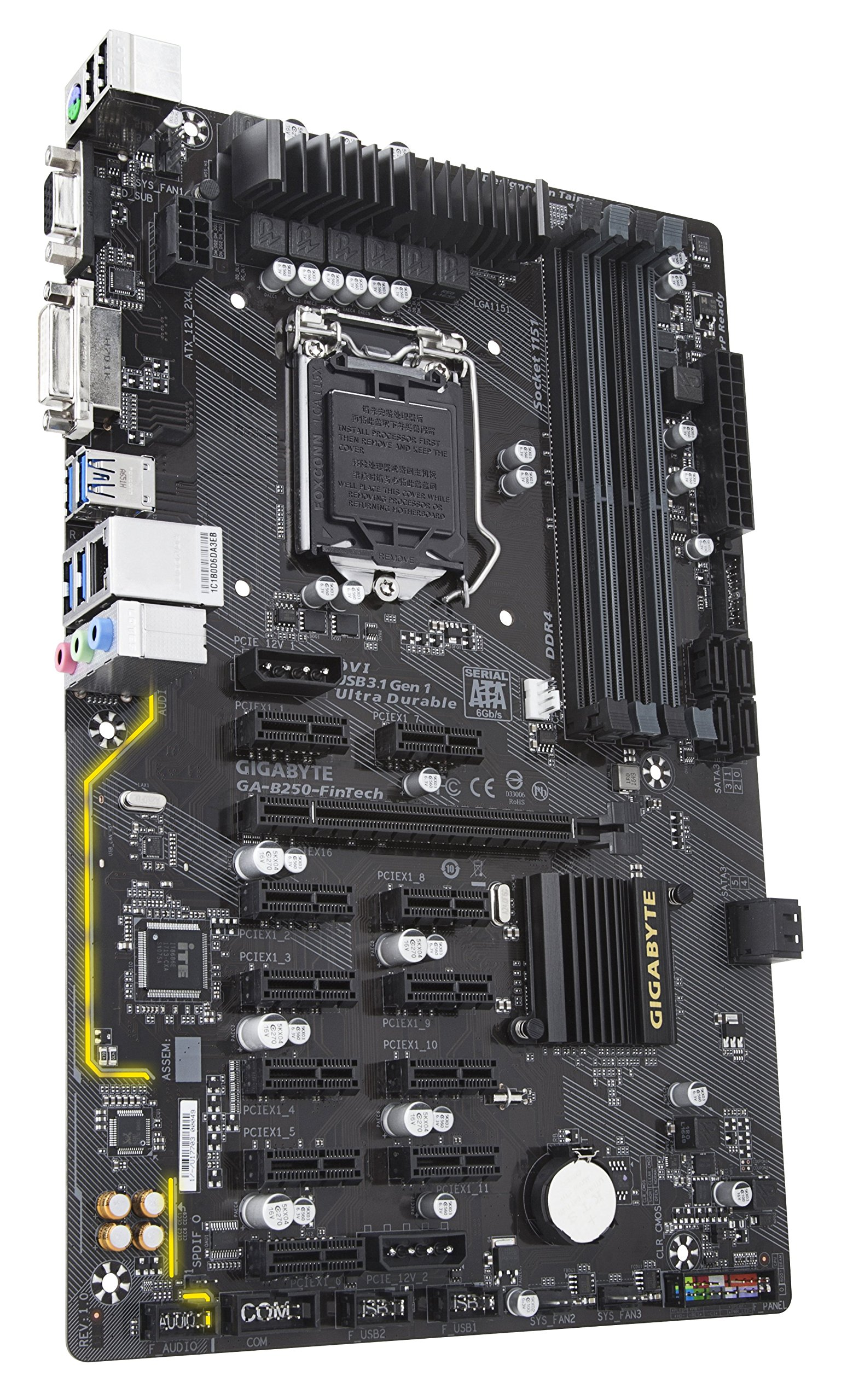 Gigabyte GA-B250-FinTech LGA1151 Intel ATX Cryptocurrency Mining 12PCIe 3.0 DDR4 Motherboard by Gigabyte (Image #3)