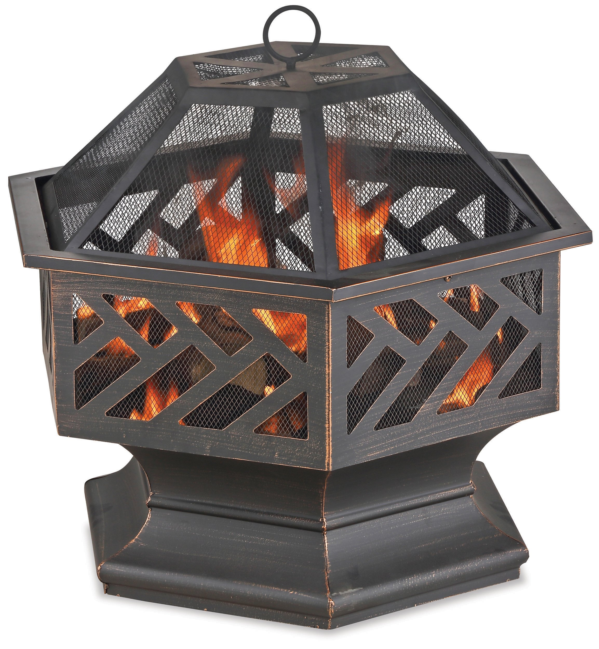 Endless Summer WAD1576SP Oil Rubbed Bronzed Wood Burning Fire Bowl with Geometric Design Outdoor Firepit, Black - 24 in. Dia bowl Wood burning for convenient heating Spark guard included for safety - patio, outdoor-decor, fire-pits-outdoor-fireplaces - 91kULZxcedL -