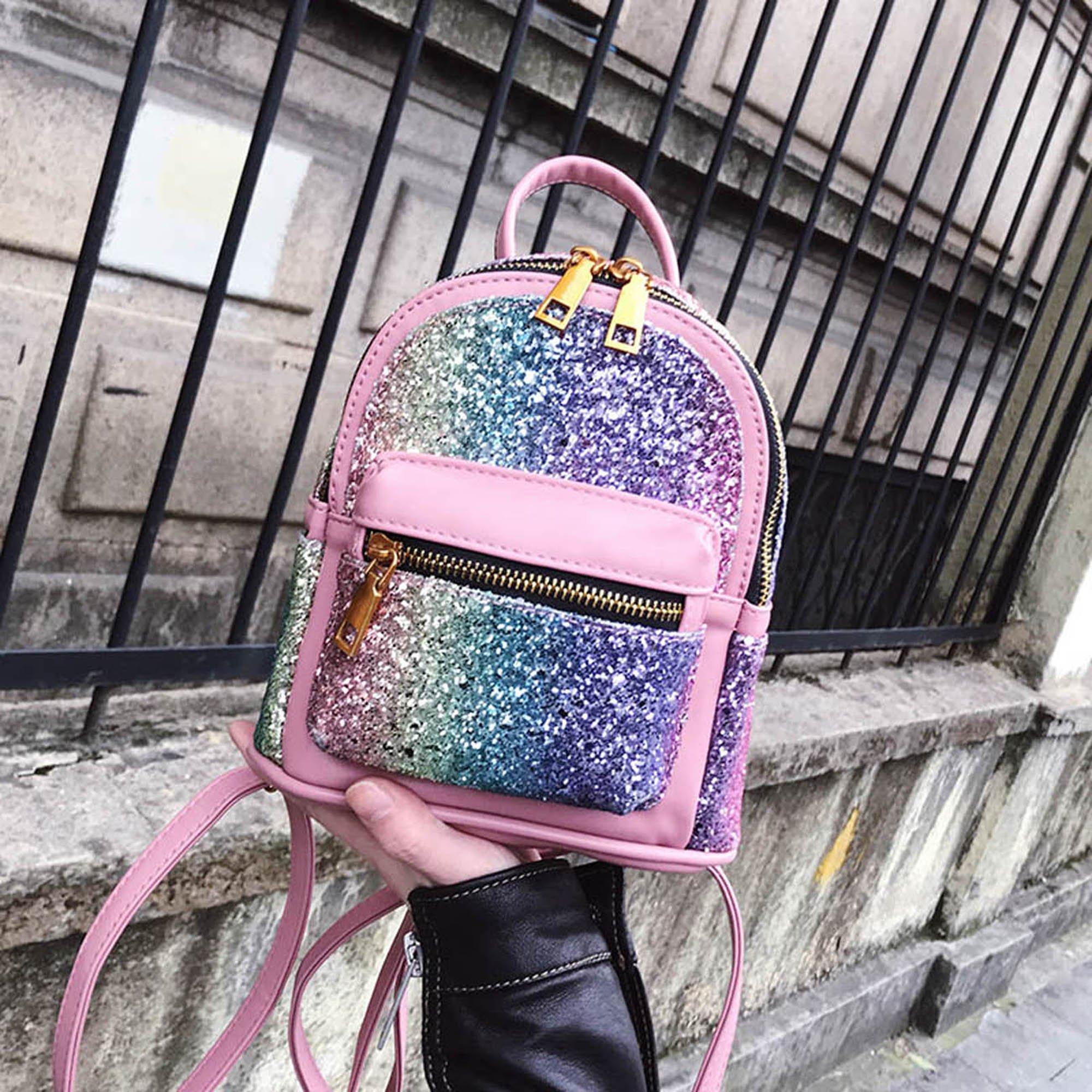 Girls Bling Mini Travel Backpack Kids Children School Bags Satchel Purses Daypack (pink rainbow) by JIANBAO (Image #7)