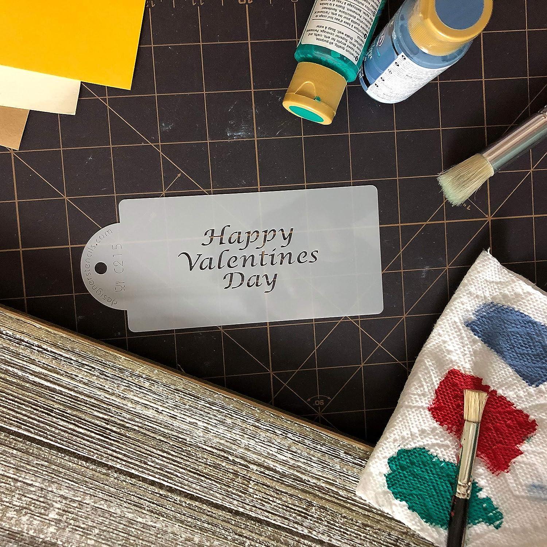 Designer Stencils C215 Happy Valentines Day Business Card Cookie Stencil Beige//semi-transparent