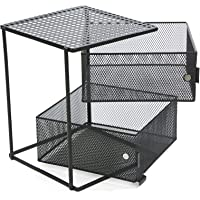 Mind Reader All Purpose 2 Tier Shelf, Baskets, Drawers with Magnets, Black