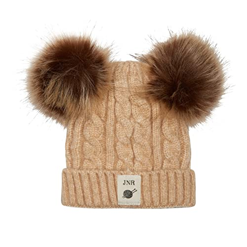 Aran Traditions Kids Oatmeal Beige Cable Knit Faux Fur Double Pom Pom Hat 3-6 years