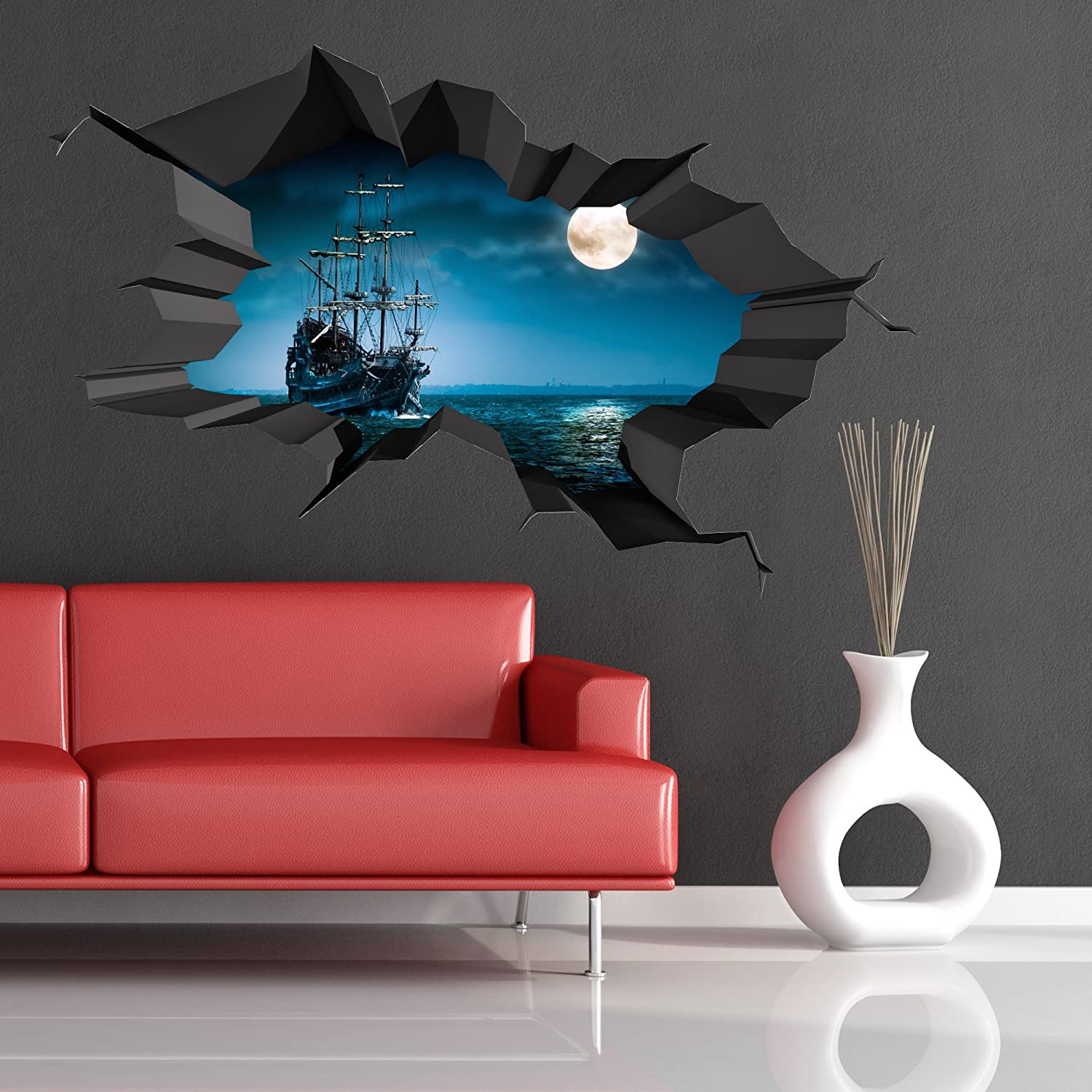 Pirate ship sea cave porthole moon cracked 3d wall art sticker pirate ship sea cave porthole moon cracked 3d wall art sticker boys childs decal mural new 1 amazon diy tools amipublicfo Images