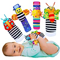 Babychino Baby Wrist Rattle & Foot Finder Socks - Baby Sensory Learning Toys for Baby Boy and Girl Stuff from 0-3-6…