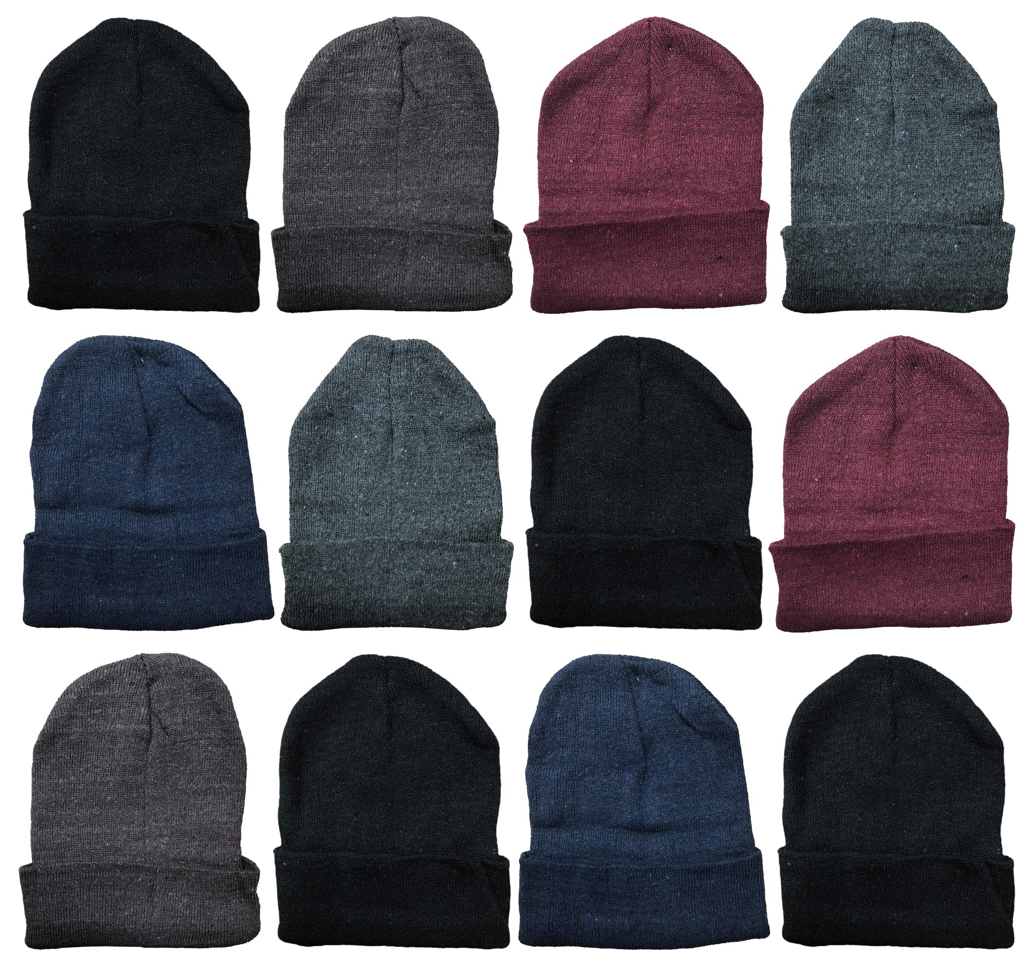 Yacht & Smith Mens Womens Warm Winter Hats in Assorted Colors, Mens Womens Unisex (12 Pack Assorted Solids (B)) by Yacht & Smith
