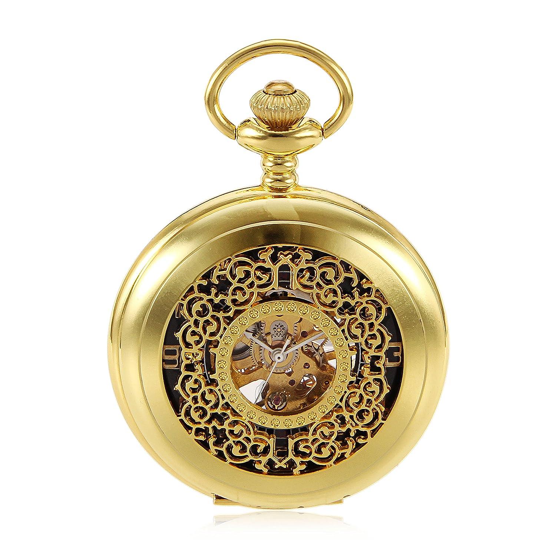 Amazon.com: Gold Flower Type Analog Selekton Steampunk Mens Hand Winding Mechanical Pocket Watch Reloj de bolsillo: Watches