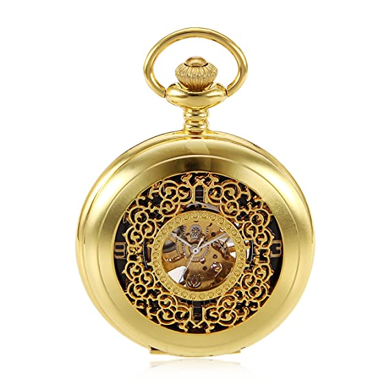 Gold Flower Type Analog Selekton Steampunk Mens Hand Winding Mechanical Pocket Watch Reloj de bolsillo