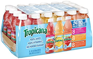 Tropicana 100% Juice 3-Flavor Fruit Blend Variety Pack, 10 Fl Oz, Bottles, (Pack of 24)