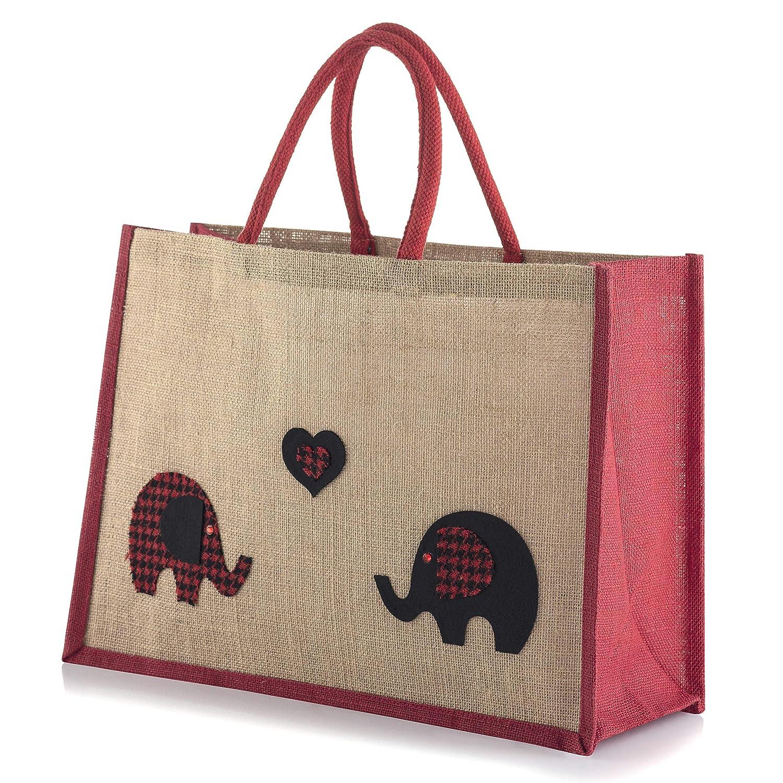 Jute Hessian Large Black Trim Shopping Bag - Elephants in Love Yellowboots