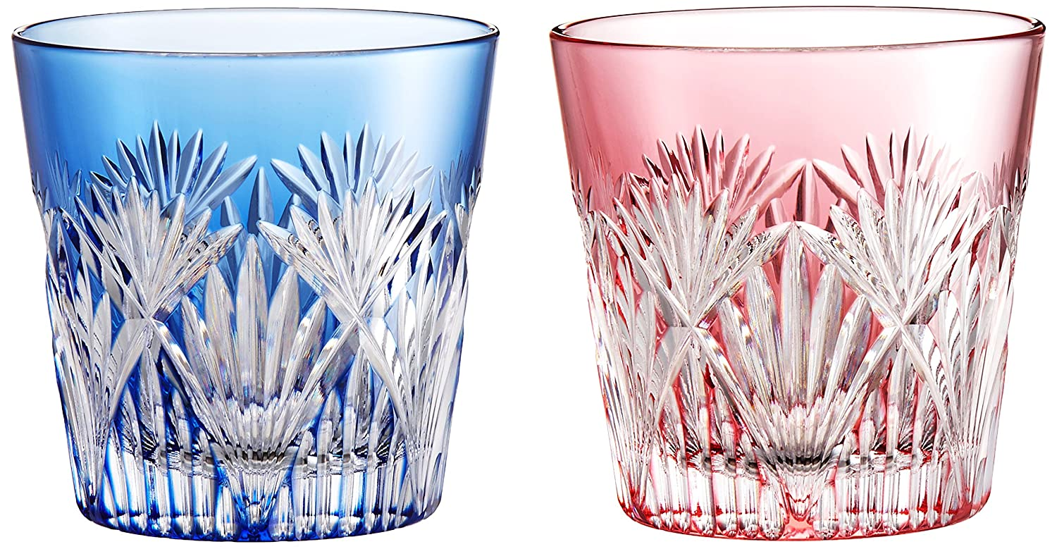 Kagami Crystal pair cold sake Cup (Sasahha in oblique cross crest) 120cc Edo Kiriko # 2406- #2406