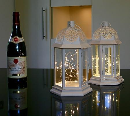 Link Products Lanterna Portacandele In Metallo E Vetro Con Luci Led Colore Panna Set Di 2 Lanterne Amazon It Casa E Cucina