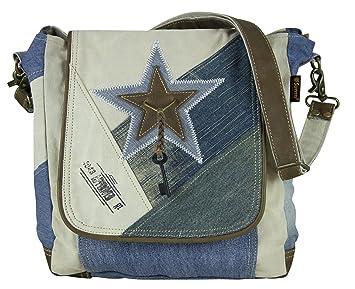 2b1d78bfe0e5a Sunsa Umhängetasche kleine Damen Schultertasche Crossbody Tasche Handtasche  Damentasche Canvas Jeans Stern Leder Retro Design reißverschluss
