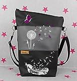 pinkeSterne ☆ Große Umhängetasche FEDER Bordeaux Handtasche Schultertasche Kunstleder Bestickt Stickerei Handmade