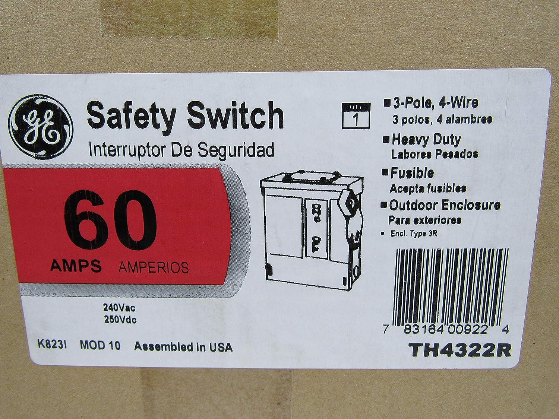 New GE TH4322 60 Amp 240V 3W Heavy Duty Fusible Safety Switch Nib