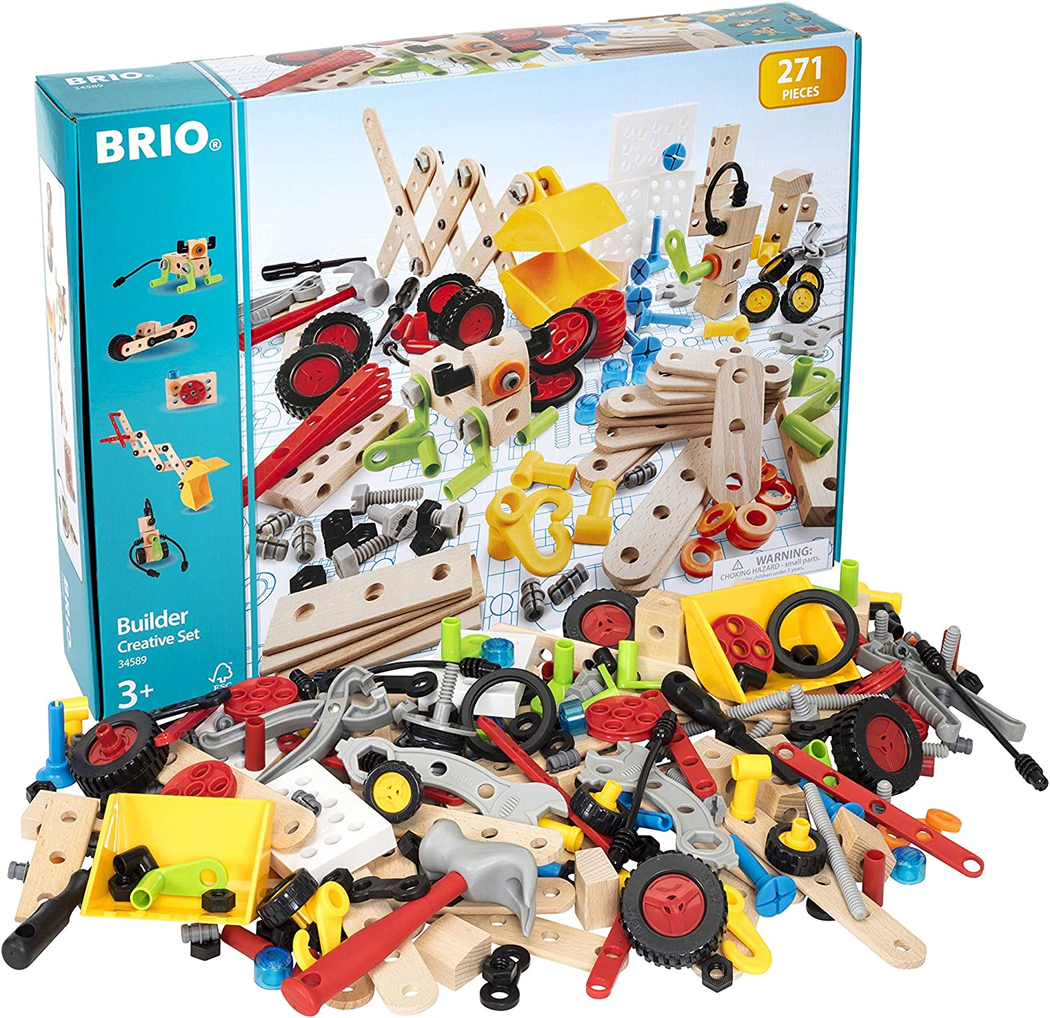 BRIO Builder 34589 - Builder Creative Set - 271 Piece Construction Set STEM Toy with Wood and Plastic Pieces for Kids Age 3 and Up