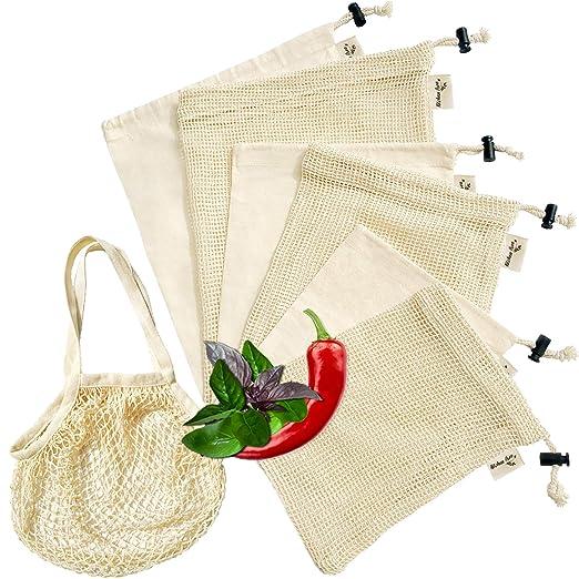 Juego de 7 bolsas de productos reutilizables (3 bolsas de malla de ...