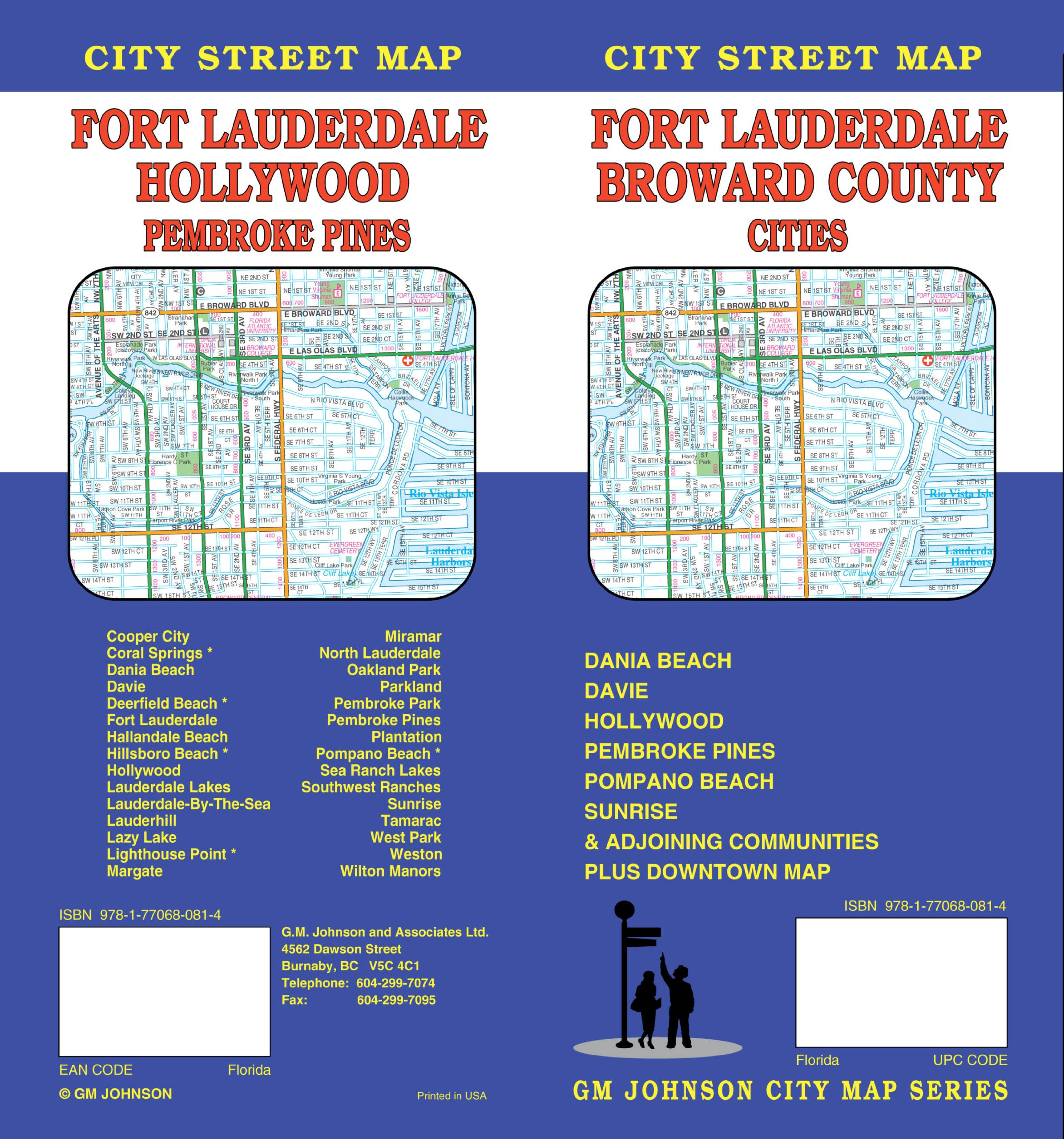 Ft Lauderdale On Map Of Florida.Fort Lauderdale Fl City Street Map Gm Johnson Associates Ltd
