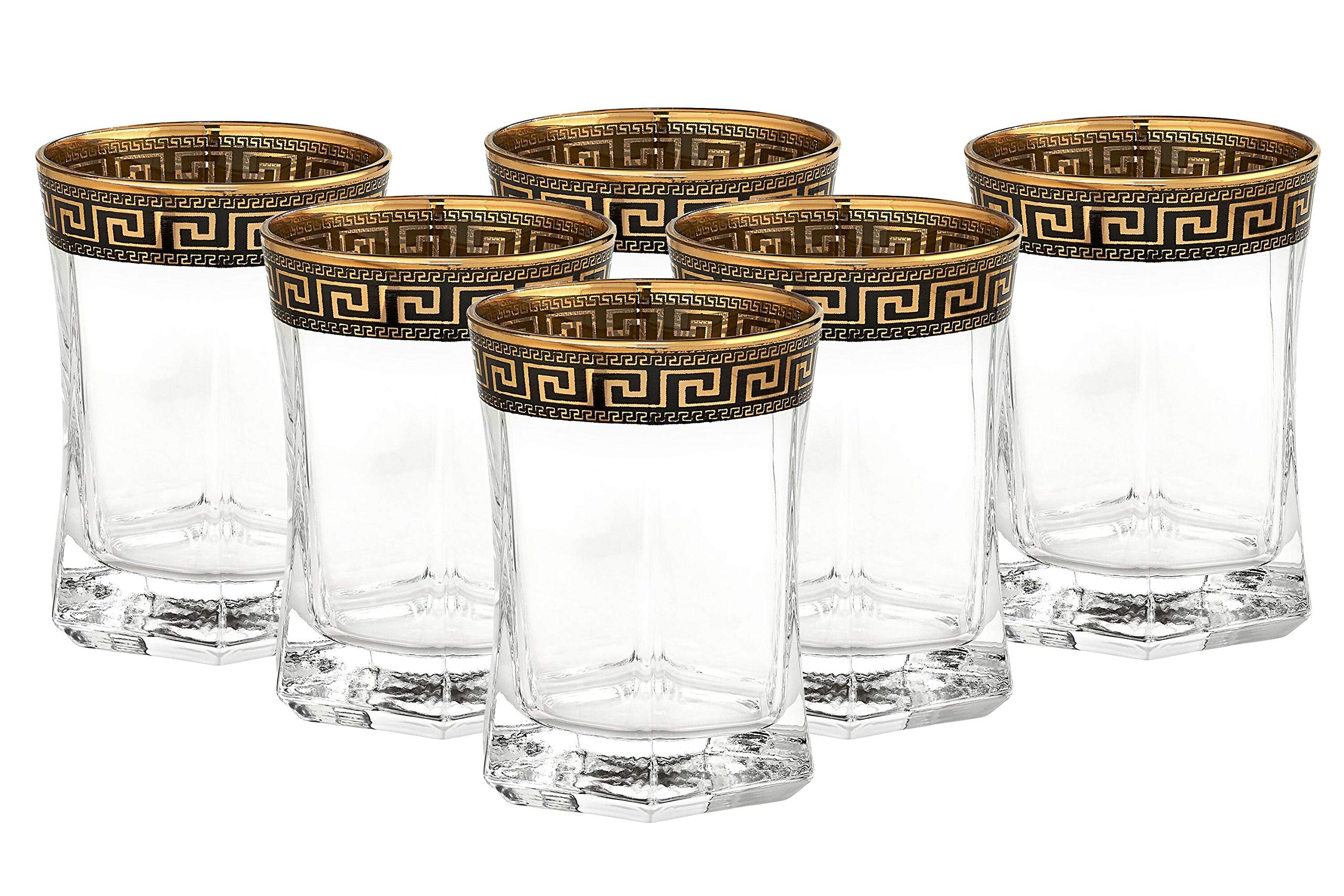 ''Cristalleria Italian Decor'' Crystal Double Old-Fashioned Whisky Rocks Glasses, 10 oz. Gold and Black Greek Key Ornament, Hand Made in Italy, SET OF 6
