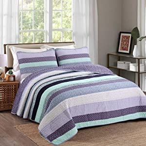 Cozy Line Home Fashions Jeannie Lilac Purple Striped Floral Flower Print Pattern 100% Cotton Quilt Bedding Set Reversible Coverlet Bedspread for Women (Lilac Stripe, Queen -3 Piece)