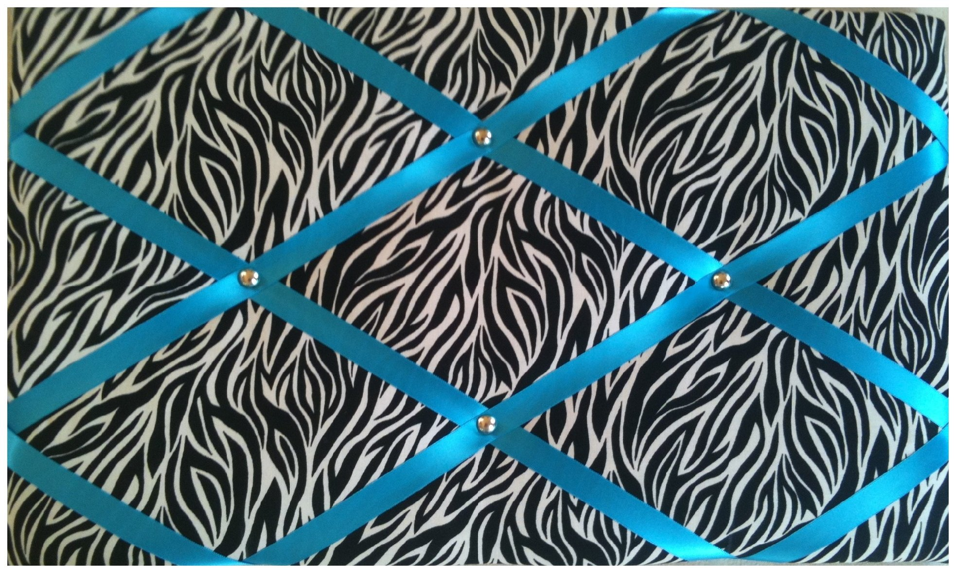 Message Boards/Notice Boards''Zebra Animal Print with Turquoise Ribbons'' by Notice Board Store