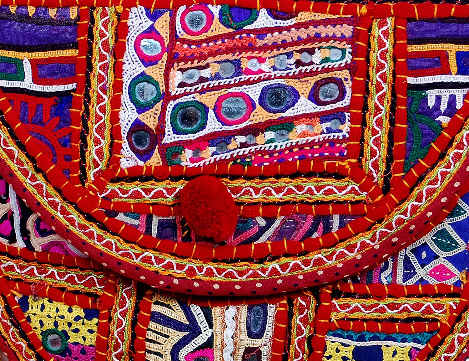 Handmade Vintage Ethnic Embroidery Elephant Design with Mirror Work Trendy Clutch Bag for Women Multicolor
