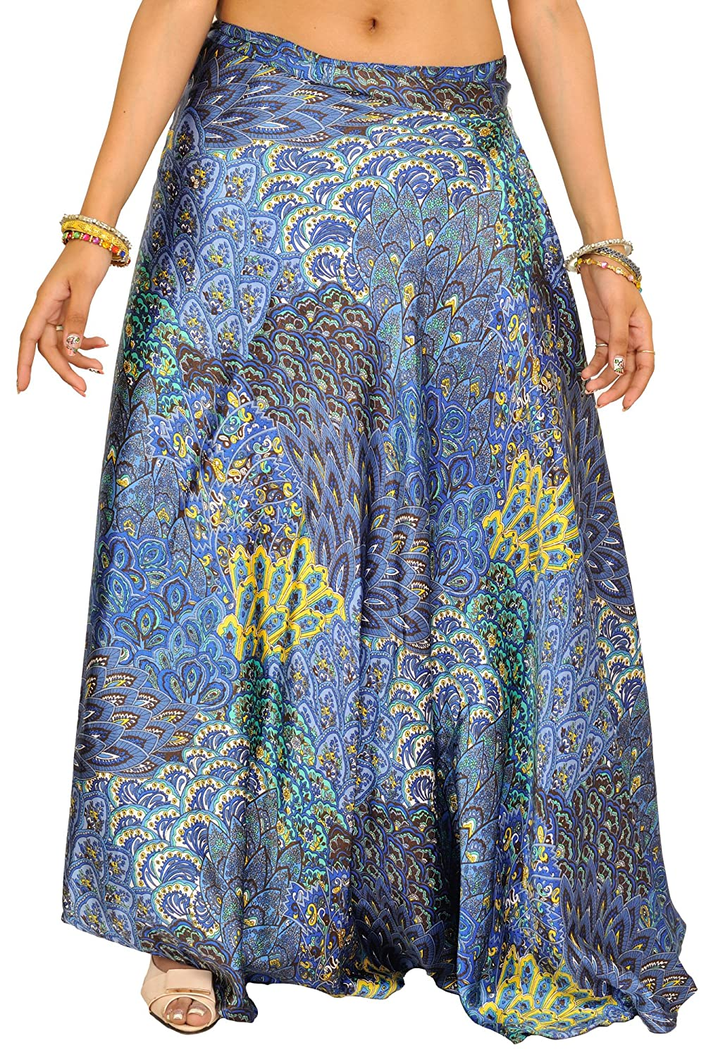 Exotic India Wrap-Around Long Skirt With Printed Flower - Color ...