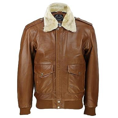 Xposed para Hombre Real de Piel Color marrón Vintage Pilot Desmontable Cuello de Piel Bombardero Chaqueta