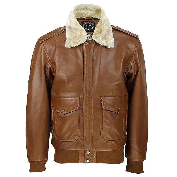 Para hombre Real de piel color marrón Vintage Pilot Desmontable cuello de piel bombardero chaqueta: Amazon.es: Ropa y accesorios