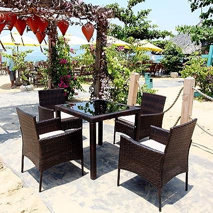 PE Wicker Rattan Patio Furniture Balcony Porch Backyard Poolside 4 ...