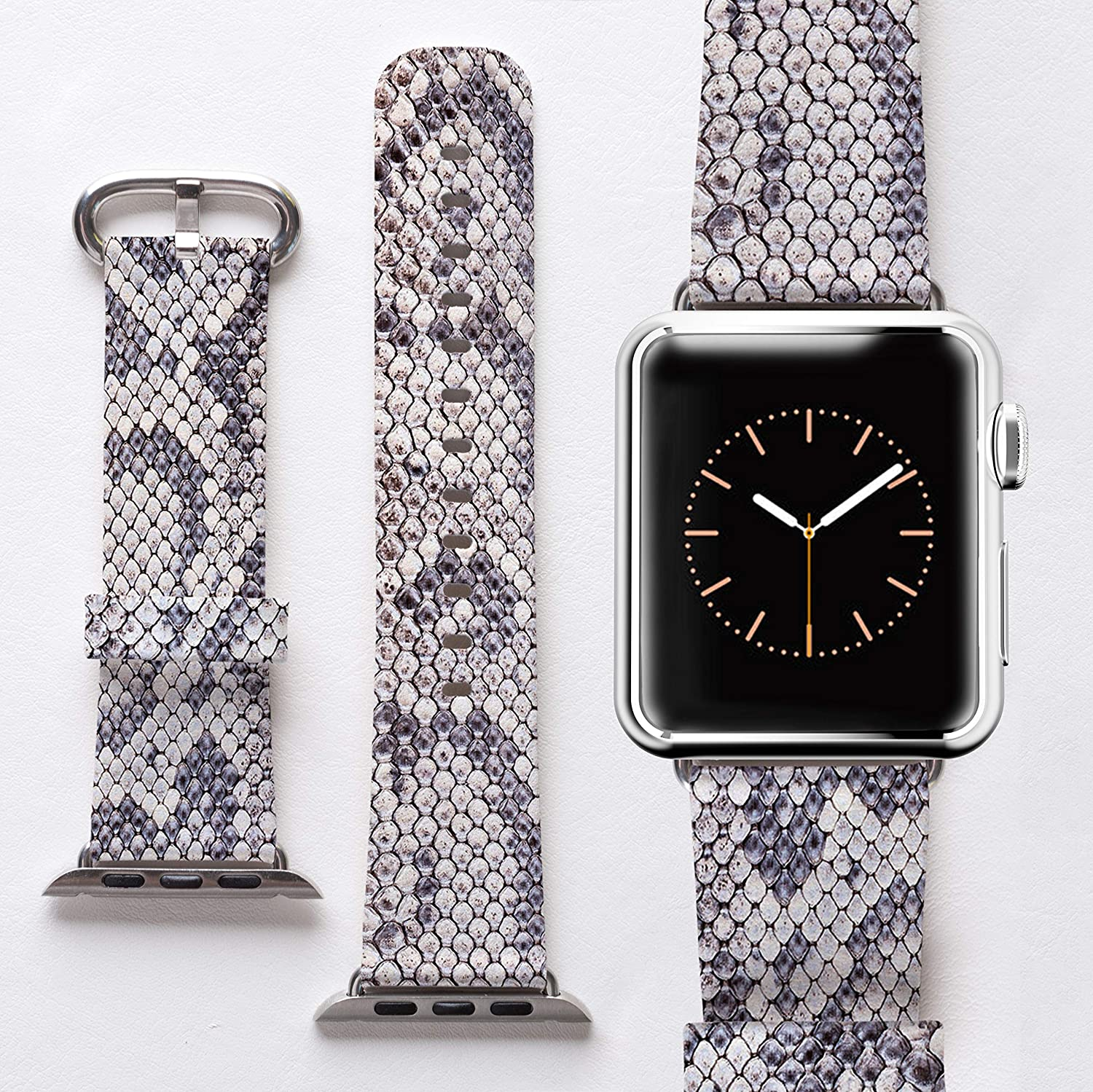 Watch Band for Apple iWatch 38mm 40mm Strap Women Men Wristband Genuine Leather Replacement Bands Stainless Series 4 3 2 1 Snake Skin