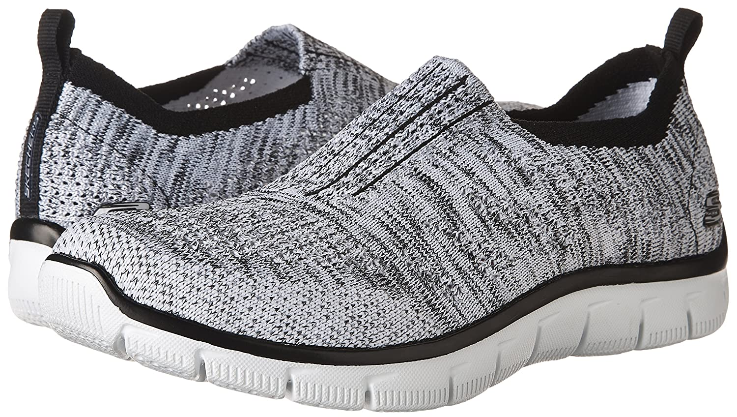 Skechers Sport Women's Empire Inside Look Fashion Sneaker B01LZPRRX6 9 B(M) US|White/Black