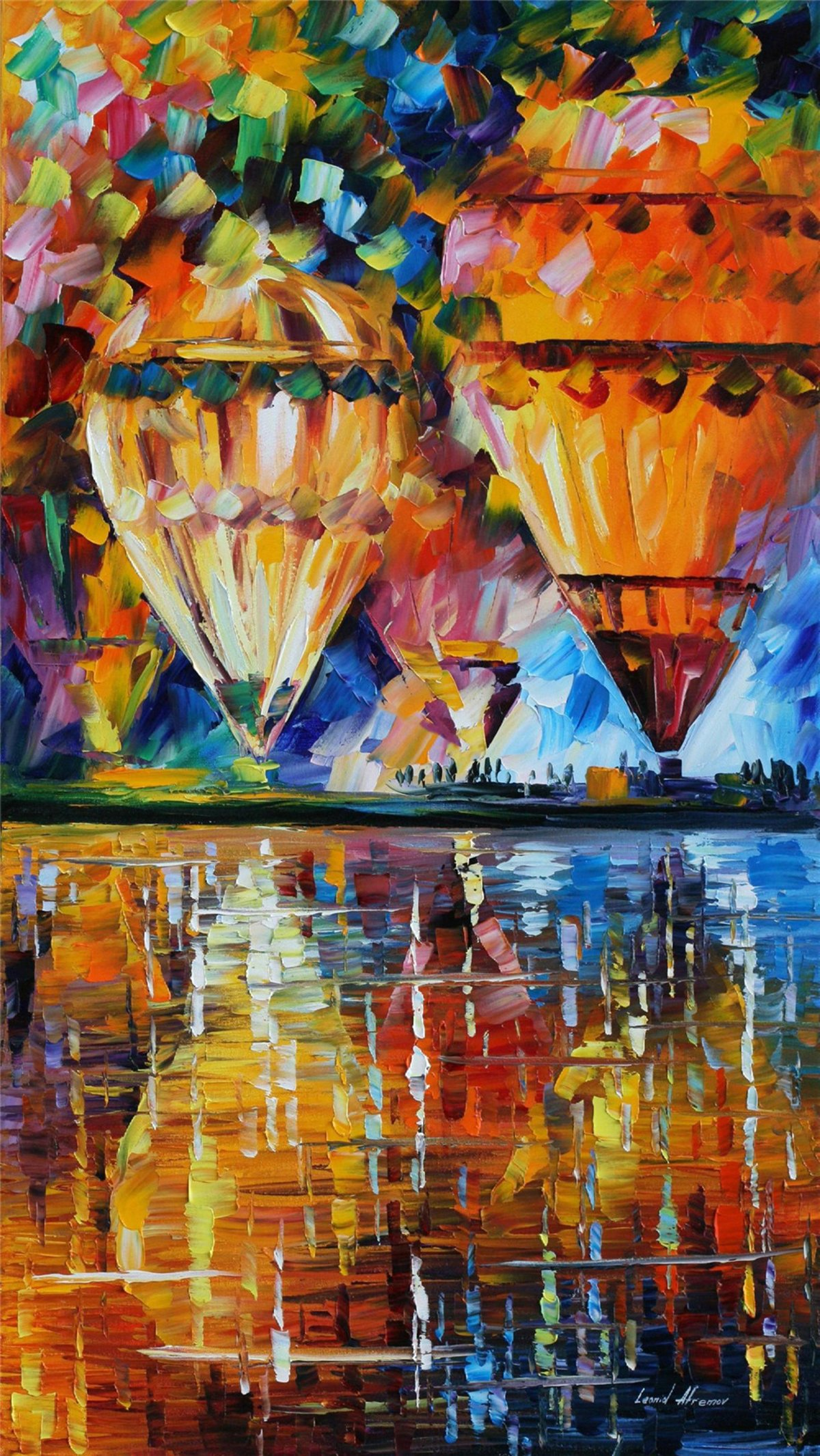 100% Hand Painted Oil Paintings Modern Abstract Oil Painting on Canvas Hot Air Balloon Home Wall Decor (24X44 Inch, Oil Painting 2)