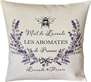 43LenaJon Personalized Pillowcase Provence Lavender Bees Pillow Cover Rustic French Country Botanical Present Home Decor
