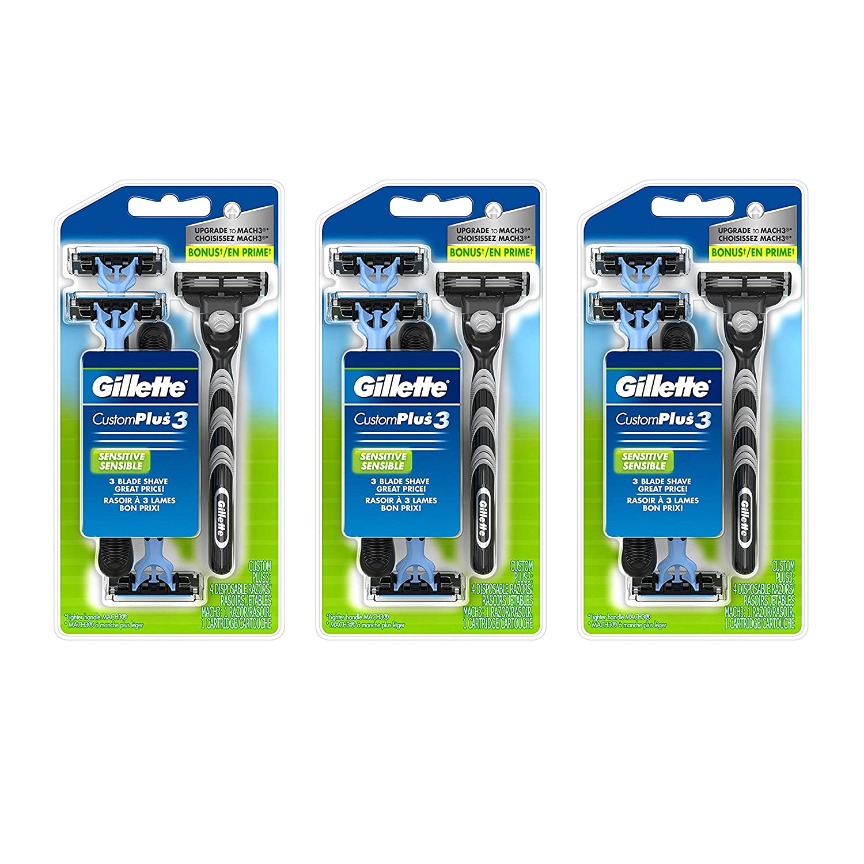 Gillette Customplus 3 Sensitive Men's Disposable Razor, 4 Count (Pack of 3) NA