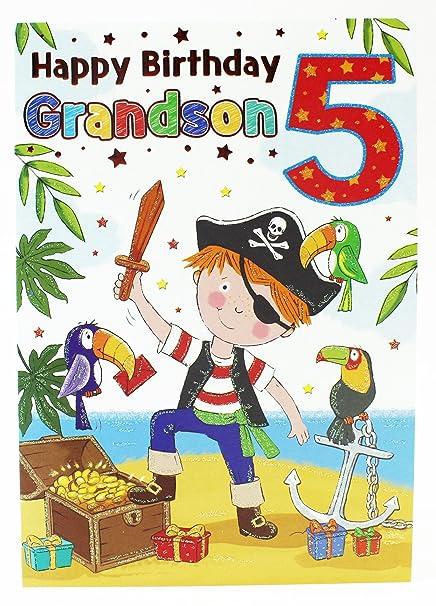 Tarjeta de felicitación de 5º cumpleaños, diseño de pirata ...