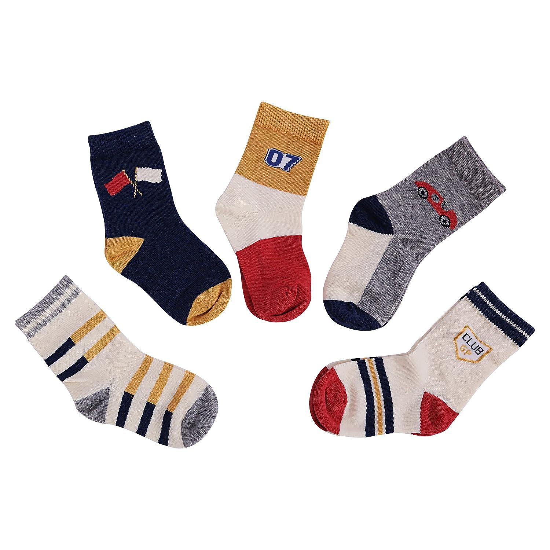 Vera Nuka Kids Boys' 5-Pack Cotton Crew Socks
