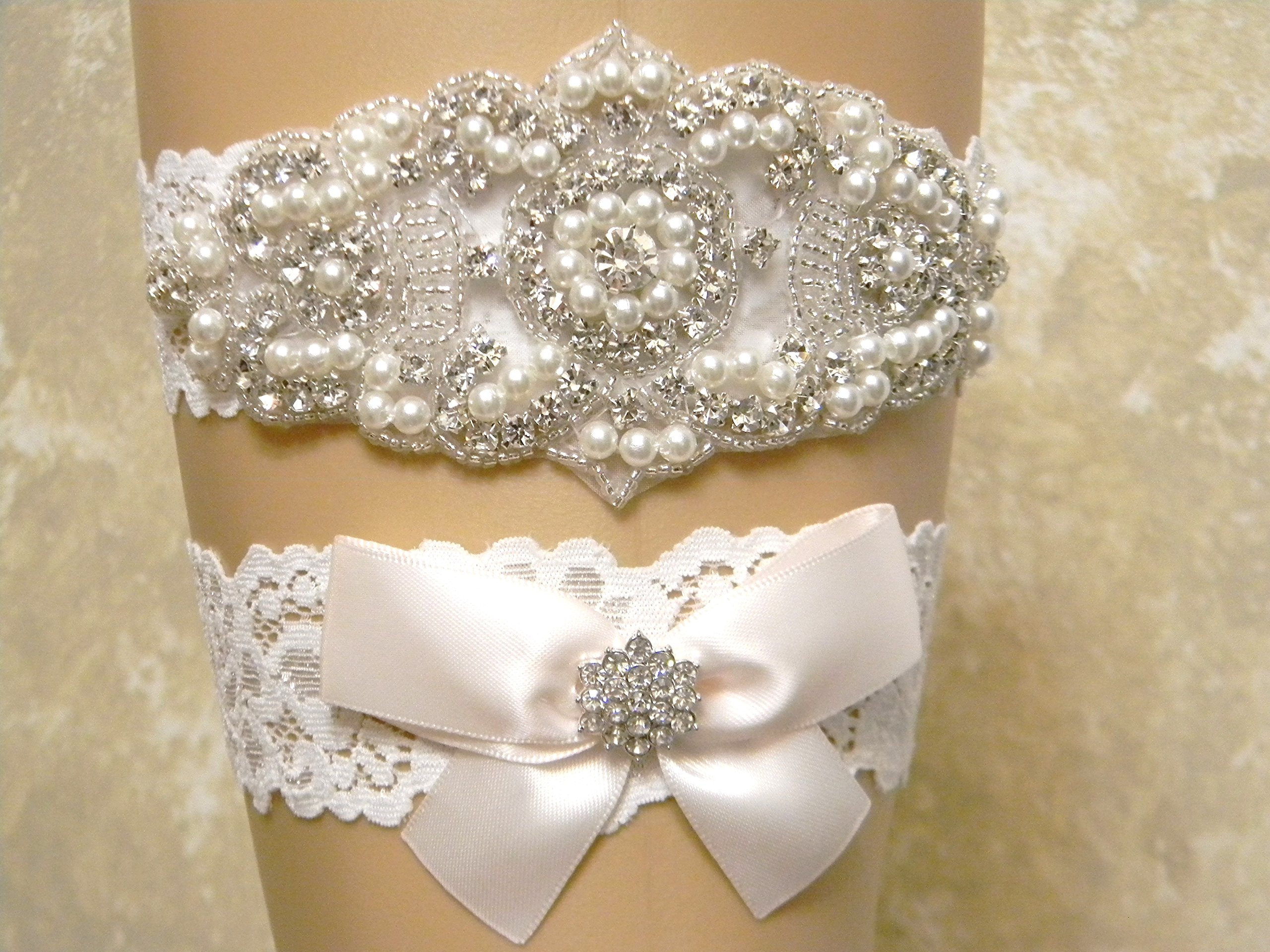 Hint of Pink Wedding Garter Set, Bridal Garter Belt, Pearl and Crystal Rhinestone Keepsake and Toss Garter Set, Lace Garters, MORE COLORS by PCB Studio
