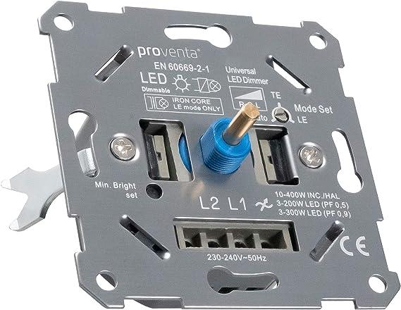 Regulador universal para LEDs (3-150W) y halógenos/incand. regulables (10-400W). Ancho 24mm. Regulación LE, TE. Autodetección de carga TE. Adaptador ...