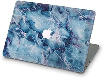ZIZZDess Marble Laptop Case for MacBook Air 13 2011 2012 Art Full Computer Cover Hard Shell Case for Notebook Apple Mac Air 13.3 Inch Model A1369 A1466 (Blue Marble)