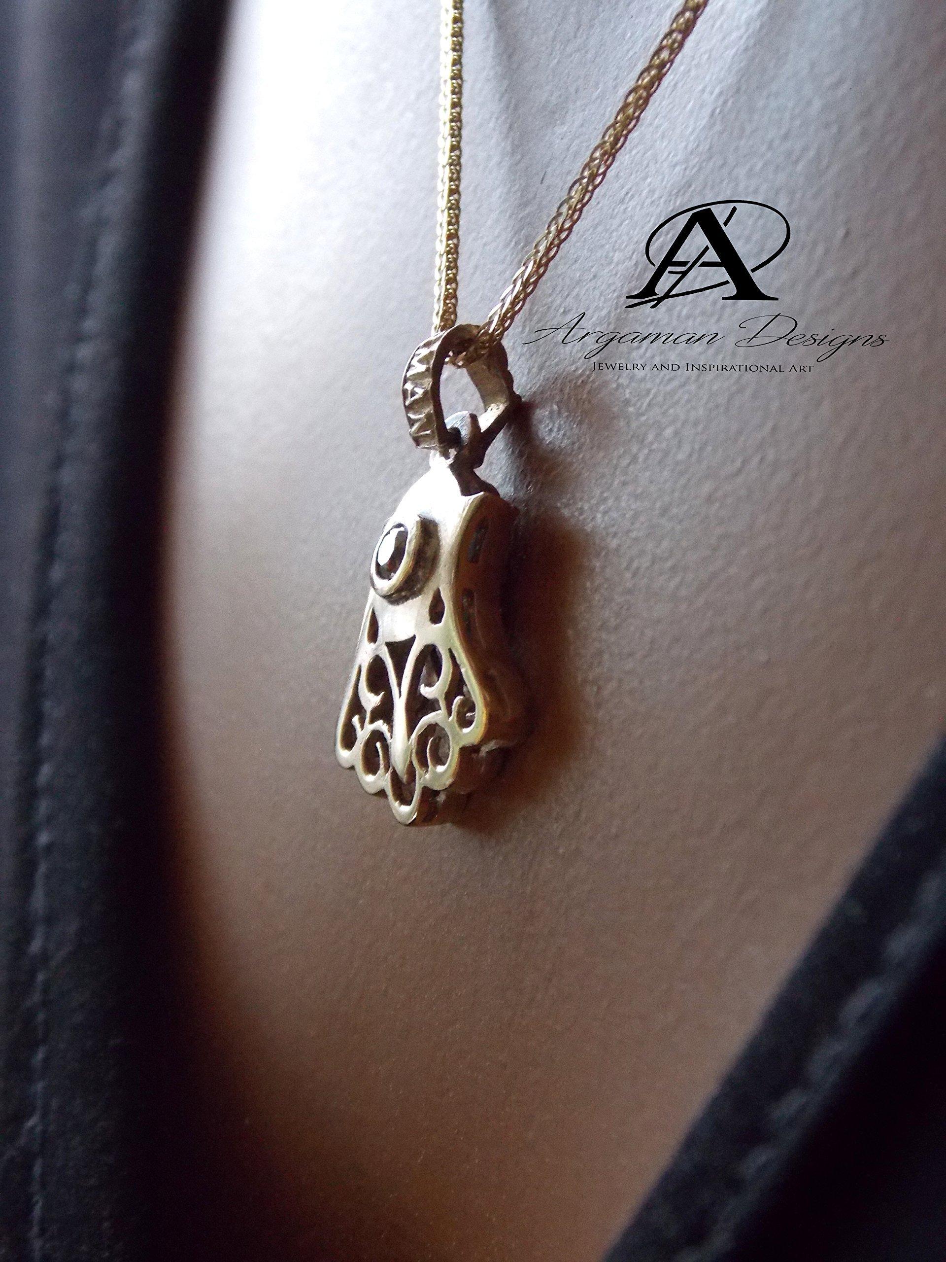 14k Gold Hamsa Pendant, Hand of Fatima, Hand of God, Gold Talisman, Kabbalah Necklace, Evil Eye Protection Necklace,