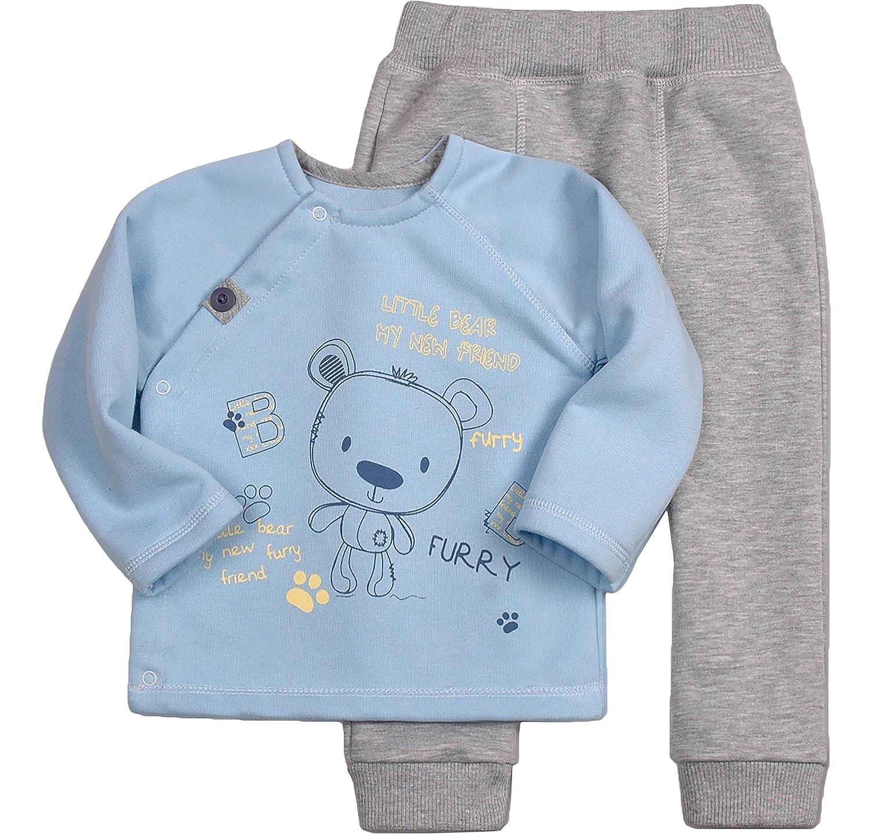 Be Mammy Ensemble T-Shirt Et Un Pantalon pour Bébé Garçon Bear 2305 Bleu/Gris Melange)