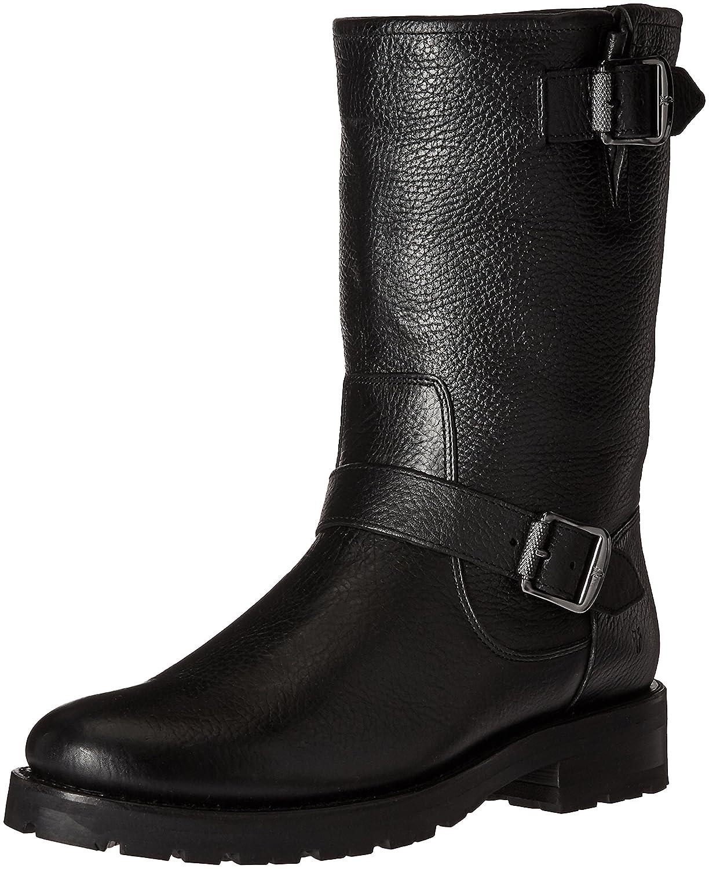 FRYE Women's Natalie Mid Engineer Lug Shearling Winter Boot B01BM0RZ7M 6 B(M) US|Black