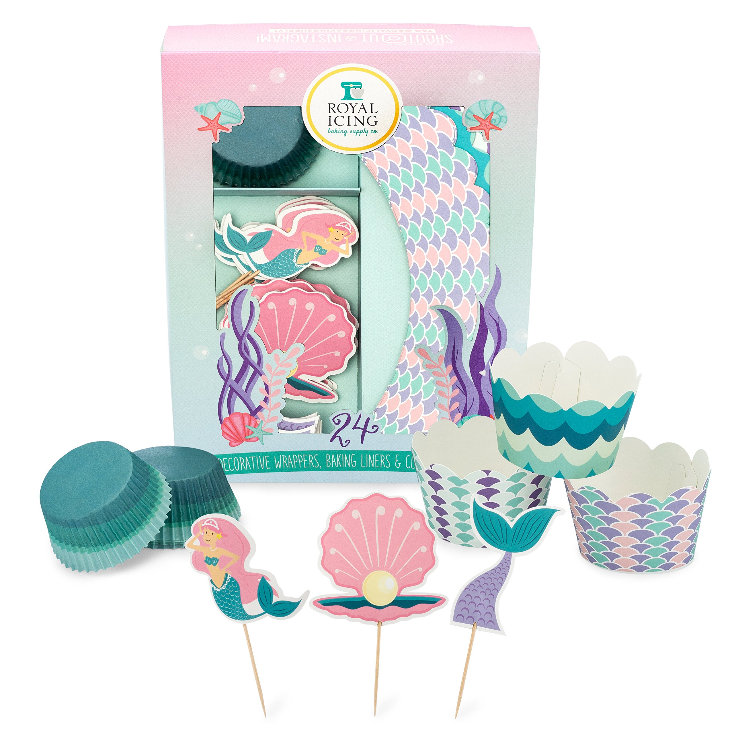 Mermaid Cupcake Decorating Kit for Kids Birthday Parties and Baby Showers - Includes Baking Liners, Decorative Cupcake Wrappers, and Toppers - For Decorating 24 Cupcakes by Royal Icing Baking Supply Co.