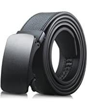 Men's Genuine Leather Belt- Ratchet Black Dress Belts for Men with Automatic Buckle.