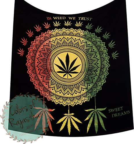 COR s In Weed We Trust Queen Cannabis Tapestry Marijuana Weed Leaf Tapestries Hippie Black Rasta Dye Mandala Leaf Canabees Wall Hanging Gypsy Wall Decor 92 x 82 Inches Rasta New